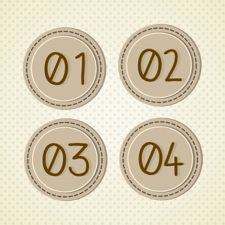 numbers: Vintage circles with needlework, numbers icons. Vector Illustration Illustration