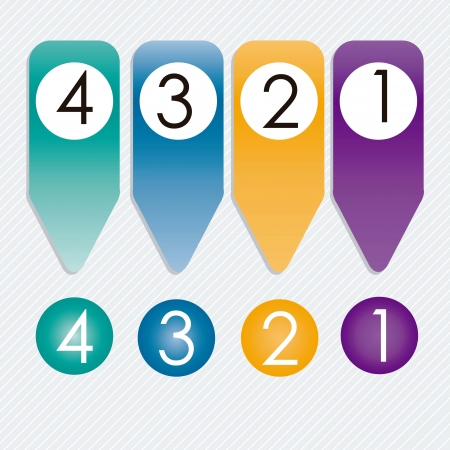 Numbers Icons on circles and ribbons. Silver background Vector