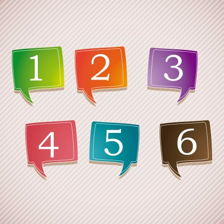 math set: Numbers Icons on colorful text balloons. Vintage background