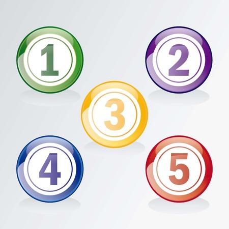 Numbers Icons. Bingo or lottery balls isolated over grey
