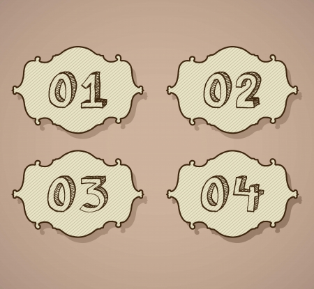 Vintage numbers Icons on retro background. Vector Illustration Vector
