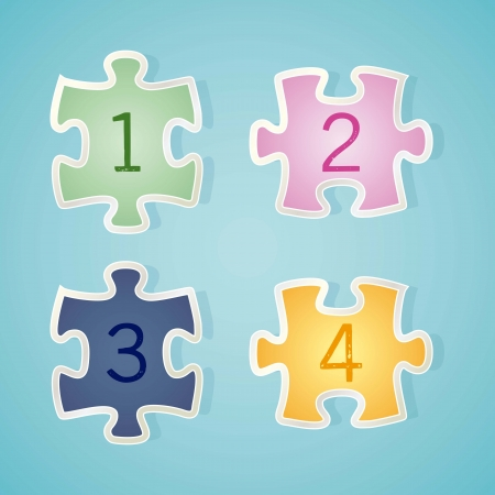 Numbers Icons on puzzle piece. Vector illustration Vector