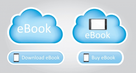 elettronic: cloud computing with ebook over white background vector illustration Illustration