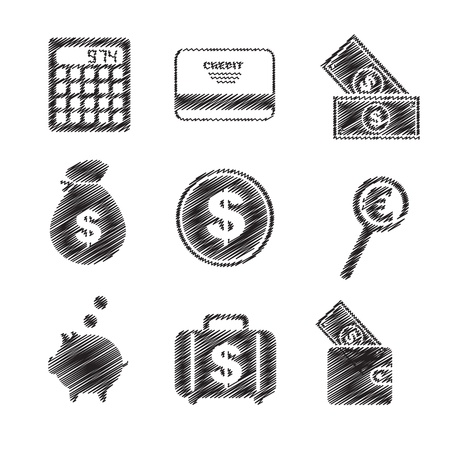 Icons of money and means of payment vector illustration Stock Vector - 16996632