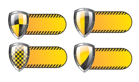 security seals yellow over white background vector illustration Stock Vector - 16997171