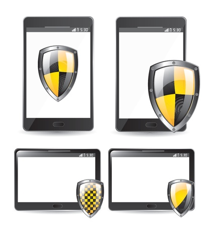 security seals black and yellow over technology background vector illustration  Stock Vector - 16997160