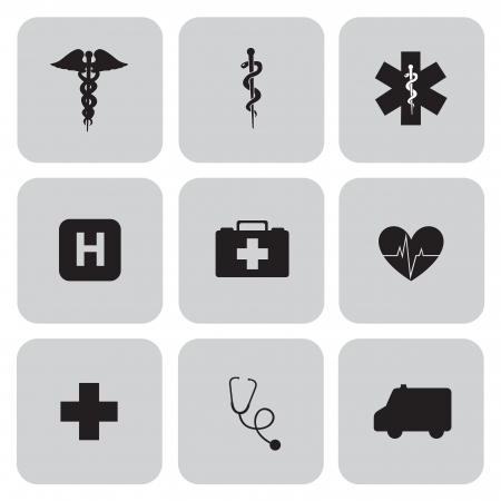 ampule: silhouettes Medical symbols over gray background