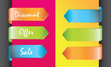 colors discount labels over yellow and pink background Stock Vector - 16997735