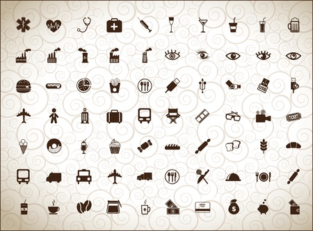 silhouettes of different icons over white background Stock Vector - 16997514