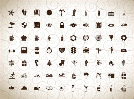 silhouettes of different icons over white background Stock Vector - 16997538