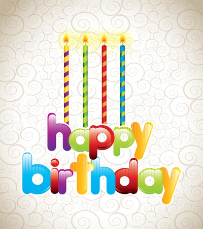 happy birthday card with candles vector illustration Stock Vector - 16997694
