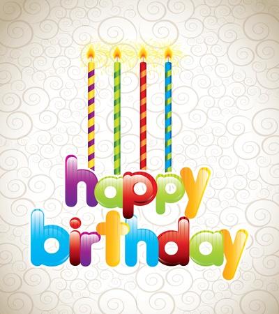 velas de cumpleaños: tarjeta de feliz cumpleaños con velas ilustración vectorial