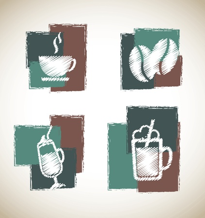 plastic straw: coffee symbols over vintage background vector illustration Illustration