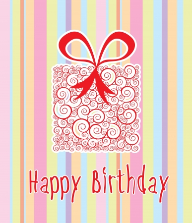 Happy birthday card over lines background vector illustration Stock Vector - 16997630
