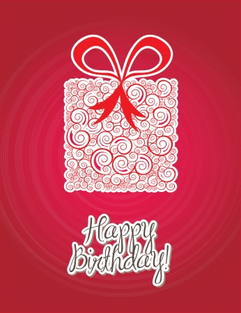 Happy birthday card over  red background vector illustration Stock Vector - 16997651