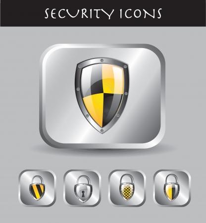 virus informatico: Iconos de seguridad más ilustración vectorial de fondo cromado Vectores