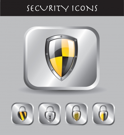computer virus: Security icons over chrome background vector illustration