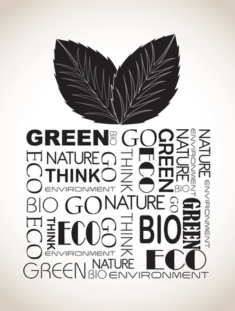 reusable: ecological gift with black words over whtie background vector illustration  Illustration