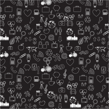 silhouettes of different icons over black  background Stock Vector - 16997742