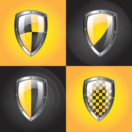 Safety symbol over yellow and black background vector illustration  Stock Vector - 16996677