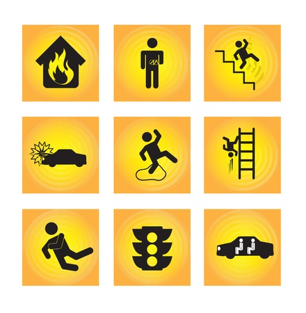 slippery warning symbol: accidents icons over yellow background vector illustration