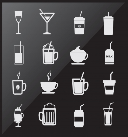 icons of drinks  over black background vector illustration Vector