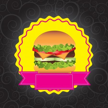 Fast food with burguer over black background vector illustration Stock Vector - 16997652