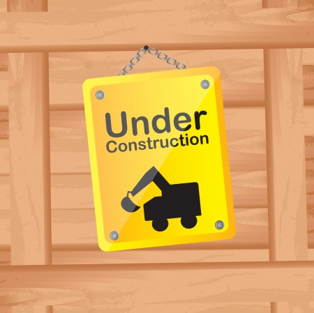 under construction over wood background vector illustration Vector