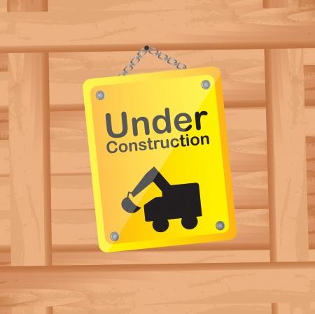 under construction sign: under construction over wood background vector illustration