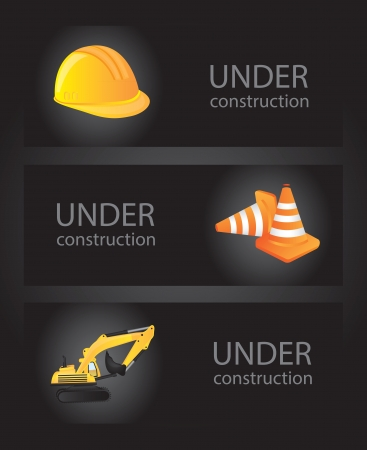 icons of under construction over black background vector illustration Stock Vector - 16997241