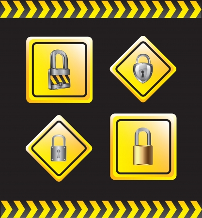 padlock with lines of caution over black background Stock Vector - 16997550