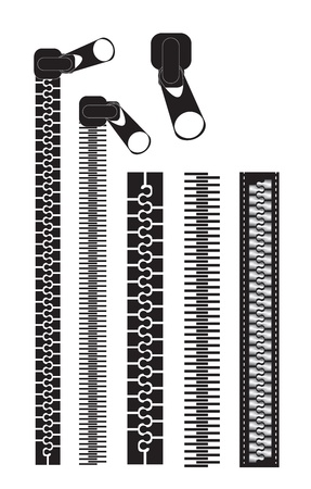 zipper: different black zippers over white background vector illustration