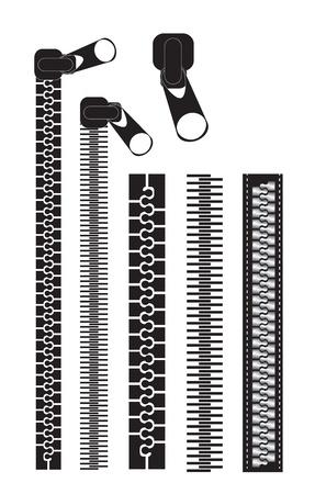 verschillende zwarte ritsen op witte achtergrond vector illustratie