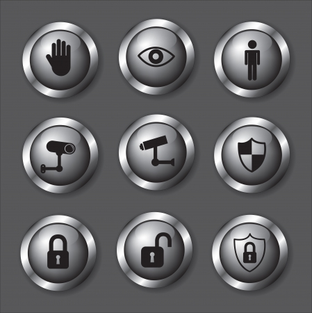 retina scan: Safety icons over chrome background vector illustration Illustration