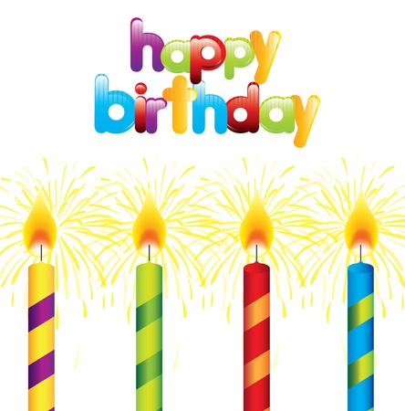 Happy Birthday card with candles over white background Stock Vector - 16997666