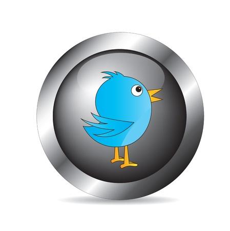 communicating bird over chrome button over white background Stock Vector - 16997365