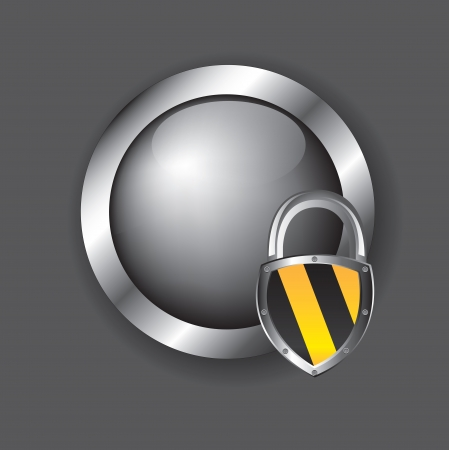 security icons over chrome button with a padlock over chrome background  Vector