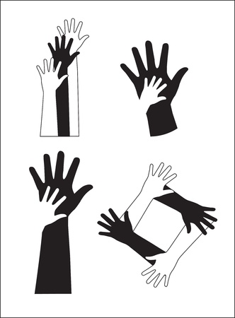 Black and white hands over white background vector illustration Stock Vector - 16996628