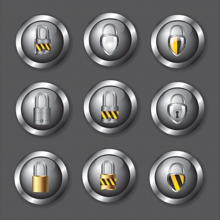 security icons over chrome button with a padlock over chrome background Stock Vector - 16997600