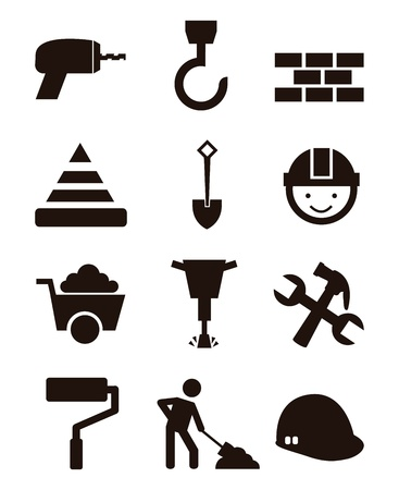 skid steer: construction icons over white background. vector illustration Illustration