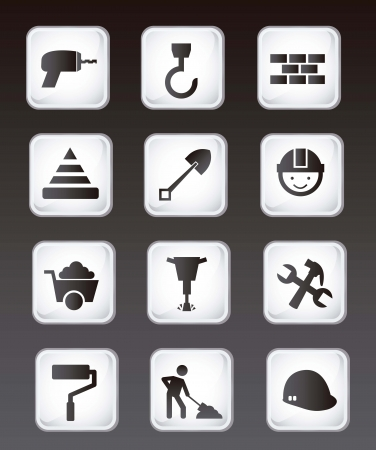 construction icons over black background. vector illustration Vector
