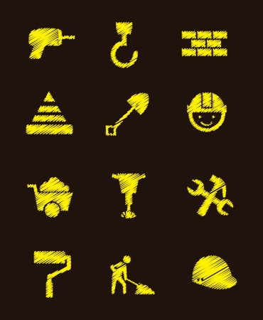 construction icons over black background. vector illustration Stock Vector - 16996946