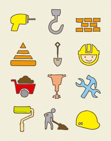 construction icons over biege background. vector illustration Vector