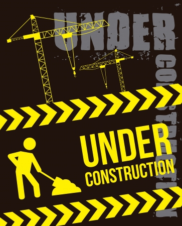 under construction over black background. vector illustration Stock Vector - 16997519