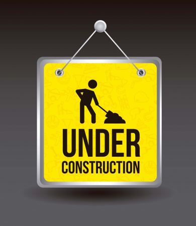 under construction over black background. vector illustration Vector