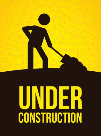 under construction over yellow  background. vector illustration Vector