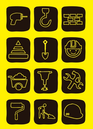 construction icons over yellow background. vector illustration Vector