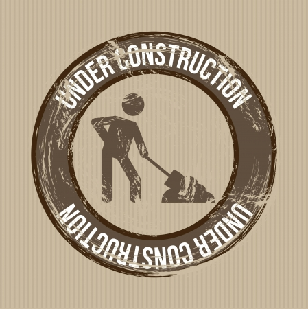 under construction sign over brown background. vector Vector