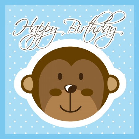 happy birthday card with monkey. vector illustration Vector