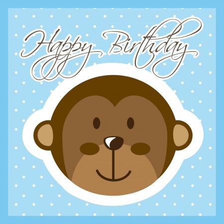 Happy Birthday Card With Monkey Vector Illustration Royalty Free